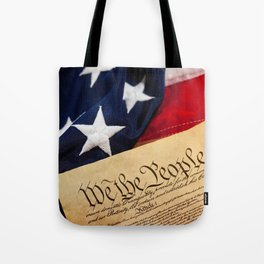 Constitution: Overhead View of USA Constitution and Flag Tote Bag
