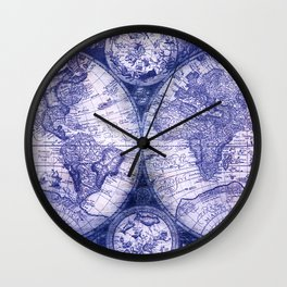 World Map Antique Vintage Navy Blue Wall Clock