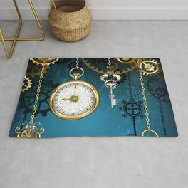 Steampunk Design with Clocks and Gears Rug