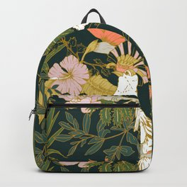 Drawing of exotic birds in the dark jungle Backpack