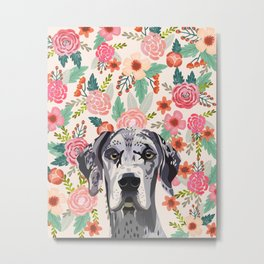 Great Dane florals pet portrait art print and dog gifts Metal Print