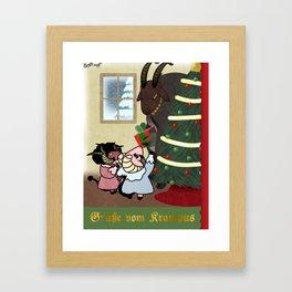 Greetings From Krampus Framed Art Print
