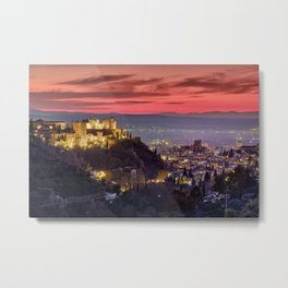 The Alhambra Palace, Cathedral and and Granada at sunset. Winter. Metal Print