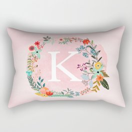 Flower Wreath with Personalized Monogram Initial Letter K on Pink Watercolor Paper Texture Artwork Rectangular Pillow