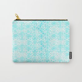 Aqua Blue Damask Carry-All Pouch