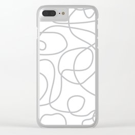 Doodle Line Art | Silver Gray Lines on White Background Clear iPhone Case