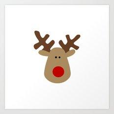 Christmas Reindeer-White Art Print