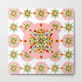 Pink Polka Dot Starburst Metal Print