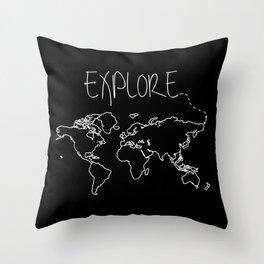 Explore World Map Throw Pillow
