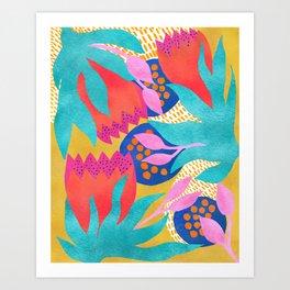 Bold Flower Pattern Yellow Background Art Print