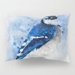 Watercolour blue jay bird Pillow Sham
