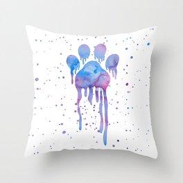 Watercolor Paw Print Throw Pillow