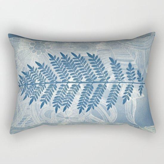 Jacaranda Leaf in Blue, Cream, Grey Rectangular Pillow