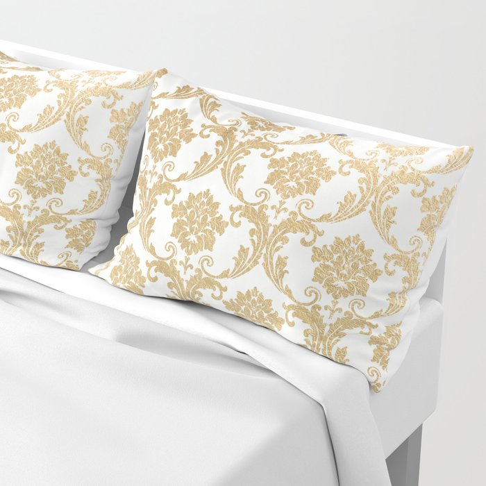 Gold swirls damask #4 Pillow Sham