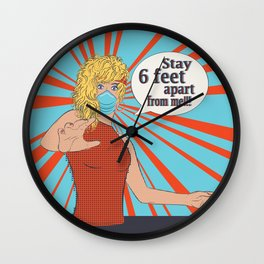 Pop art retro woman in face mask, Stay 6 feet apart from me Wall Clock