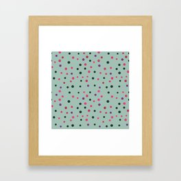 Neon pink black purple polka dots pattern Framed Art Print