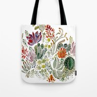 succulents Tote Bags featuring Succulents  by Hannah Margaret Illustrations