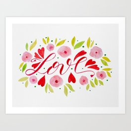 Love and roses - pink and red Art Print