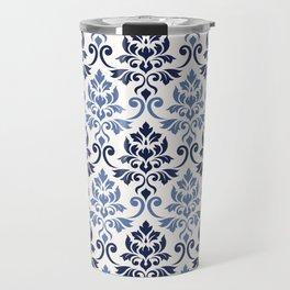 Feuille Damask Pattern Blues on Cream Travel Mug