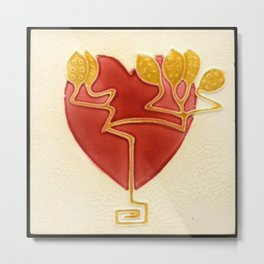 Art Nouveau Heart Metal Print