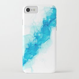 Wispy Turquoise: Original Abstract Alcohol Ink Painting iPhone Case