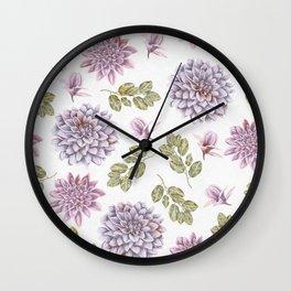 Lavender Rose Garden Floral Pattern Wall Clock