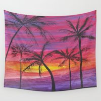 palms Wall Tapestries featuring Palms by Lissasdesigns
