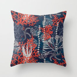 Corals and Starfish Throw Pillow