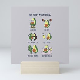New Year's Resolutions with Avocado Mini Art Print