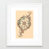 map Framed Art Prints featuring Bon Voyage by Norman Duenas