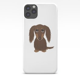 Cute Dog - Longhaired Chocolate Dachshund Cartoon Wiener Dog iPhone Case