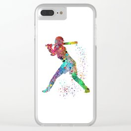 Baseball Softball Player Sports Art Print Watercolor Print Girl's softball Clear iPhone Case