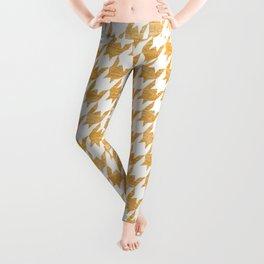 Orange Houndstooth pattern Leggings