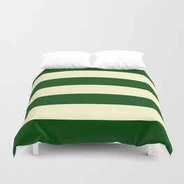 Dark Emerald Green and Cream Large Stripes Duvet Cover