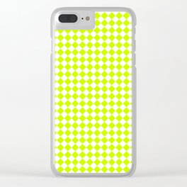 Small Diamonds - White and Fluorescent Yellow Clear iPhone Case