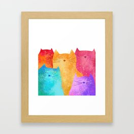 Rainbow cats Framed Art Print