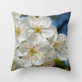 White Cherry Blossoms 01, Spring Throw Pillow