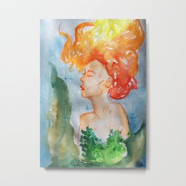 Evolving Mermaid Watercolor Ocean Seascape Mixed Media Painting by Imaginarium Arts Metal Print