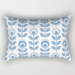 SCANDI GARDEN 01-1, blue on white Rectangular Pillow