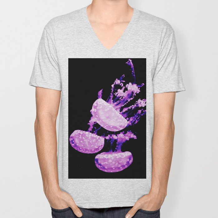 Purple Jellyfish Under the Sea Underwater Photography Saturated Color Framed Lustre Wall Art Print Unisex V-Neck