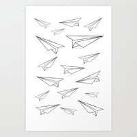 airplanes Art Prints featuring Airplanes by Elio and the fox