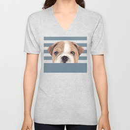 Bulldog Original painting Dog illustration original painting print Unisex V-Neck