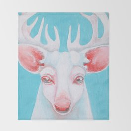 Portrait of a White Stag Throw Blanket