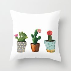 Three Cacti With Flowers On White Background Throw Pillow
