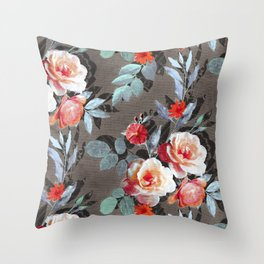 Retro Rose Chintz in Scarlet, Peach, Sage and Grey Throw Pillow