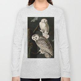 Snowy Owl Vintage Bird Illustration - Audubon Long Sleeve T-shirt