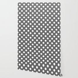 Dim gray - grey - White Polka Dots - Pois Pattern Wallpaper