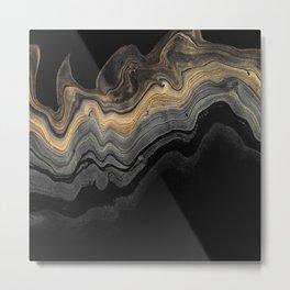 Black and Gold Elegant Marble Metal Print