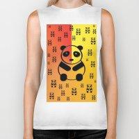 pandas Biker Tanks featuring Pandas by Gaspar Avila