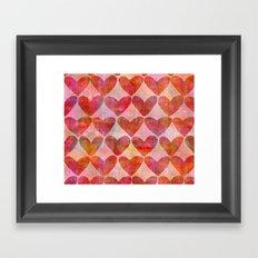 red Hearts mixed media pattern Framed Art Print